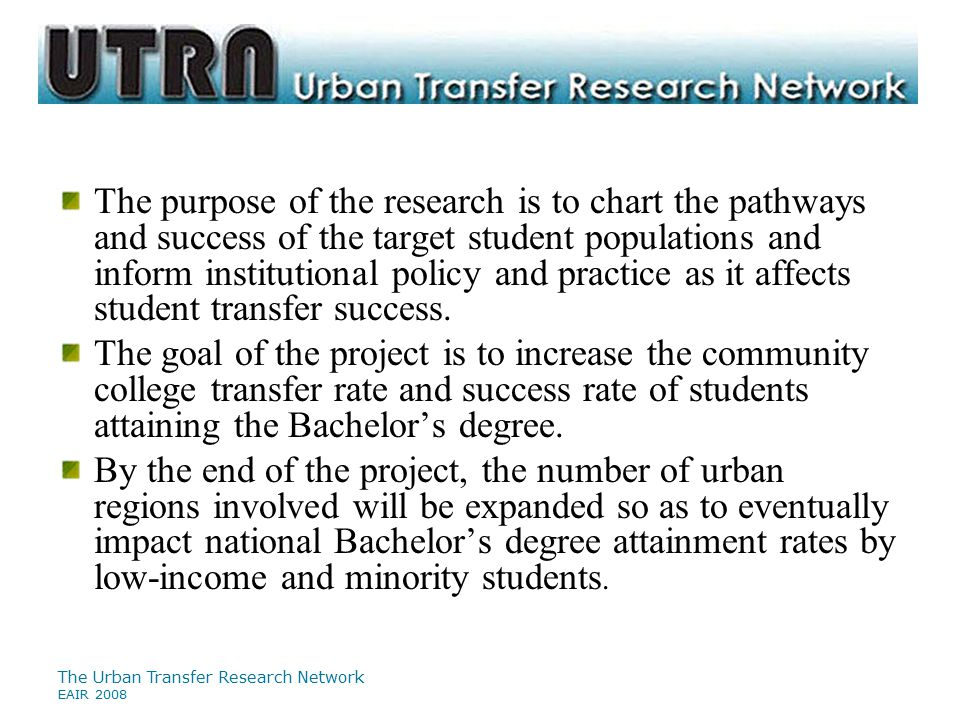 The Urban Transfer Research Network EAIR 2008 Participating Institutions Portland State University  Mt.