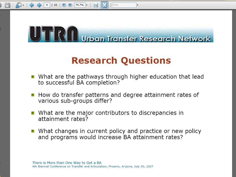 The Urban Transfer Research Network EAIR 2008 Recommendation: Communication & Information *Early *Often *Accurate Institutions should… Help students connect and learn more about transfer process early, when beginning at community college, and after transfer to the university.