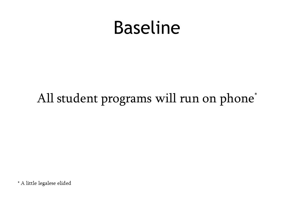 Baseline All student programs will run on phone * * A little legalese elided