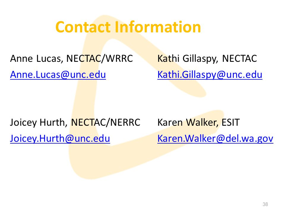 38 Contact Information Anne Lucas, NECTAC/WRRC Anne.Lucas@unc.edu Joicey Hurth, NECTAC/NERRC Joicey.Hurth@unc.edu Kathi Gillaspy, NECTAC Kathi.Gillaspy@unc.edu Karen Walker, ESIT Karen.Walker@del.wa.gov