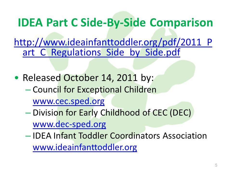 5 IDEA Part C Side-By-Side Comparison http://www.ideainfanttoddler.org/pdf/2011_P art_C_Regulations_Side_by_Side.pdf Released October 14, 2011 by: – Council for Exceptional Children www.cec.sped.org – Division for Early Childhood of CEC (DEC) www.dec-sped.org – IDEA Infant Toddler Coordinators Association www.ideainfanttoddler.org