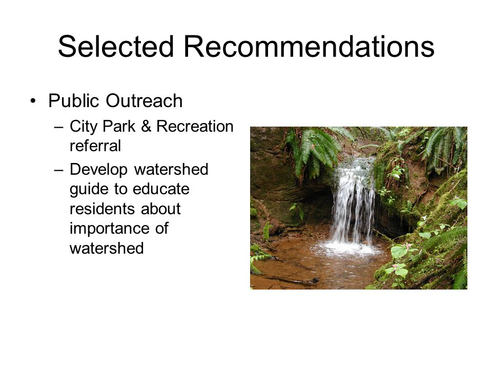 Selected Recommendations Public Outreach –City Park & Recreation referral –Develop watershed guide to educate residents about importance of watershed
