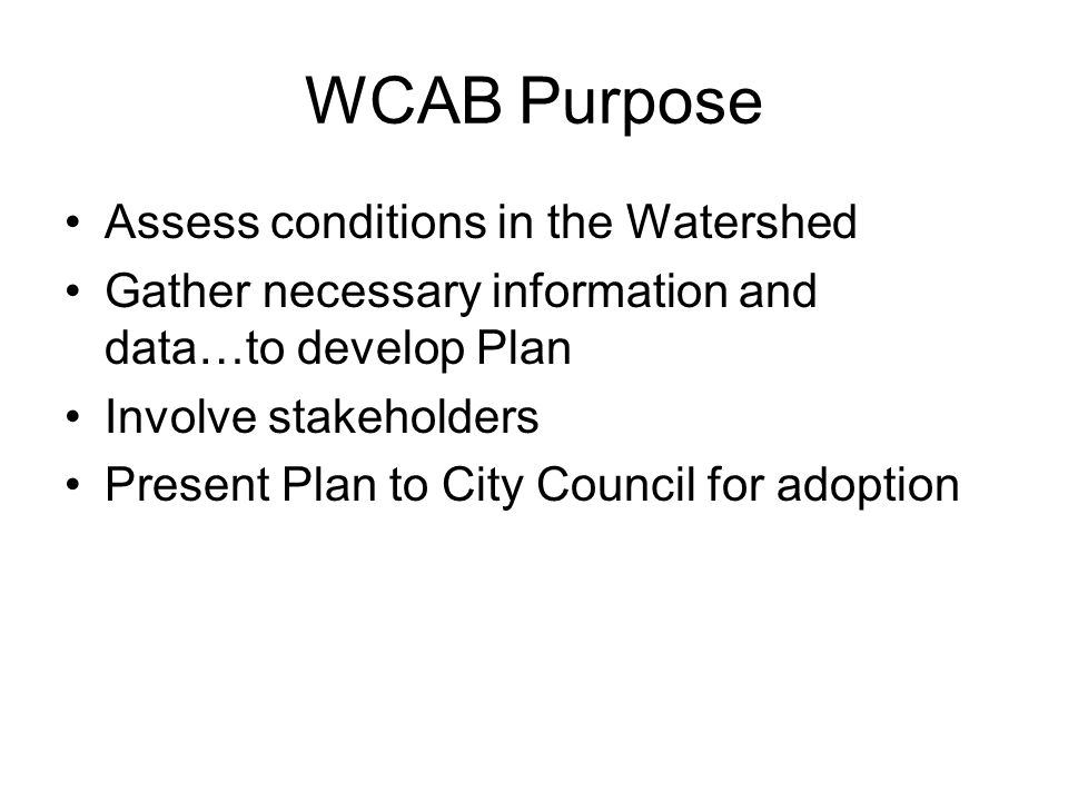 WCAB Purpose Assess conditions in the Watershed Gather necessary information and data…to develop Plan Involve stakeholders Present Plan to City Council for adoption