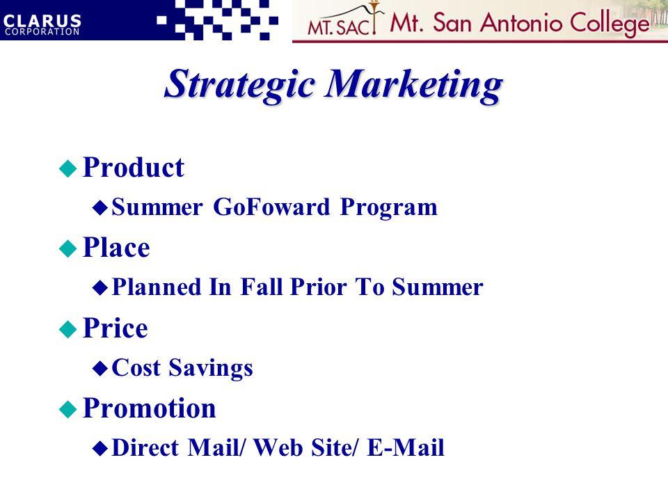 Strategic Marketing u Product u Summer GoFoward Program u Place u Planned In Fall Prior To Summer u Price u Cost Savings u Promotion u Direct Mail/ Web Site/ E-Mail