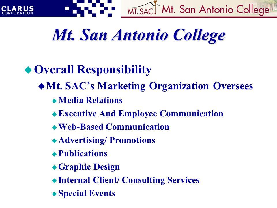 Mt. San Antonio College u Overall Responsibility u Mt.