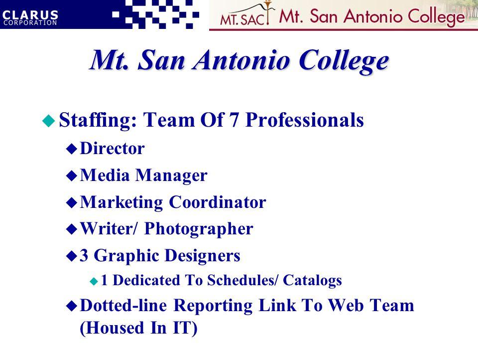 Mt. San Antonio College u Staffing: Team Of 7 Professionals u Director u Media Manager u Marketing Coordinator u Writer/ Photographer u 3 Graphic Desi