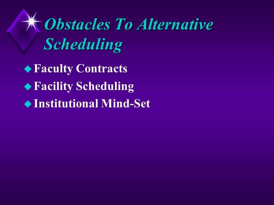 Obstacles To Alternative Scheduling u Faculty Contracts u Facility Scheduling u Institutional Mind-Set