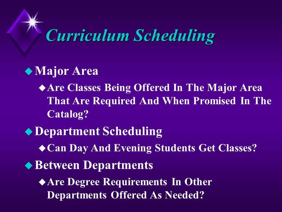 Curriculum Scheduling u Major Area u Are Classes Being Offered In The Major Area That Are Required And When Promised In The Catalog.