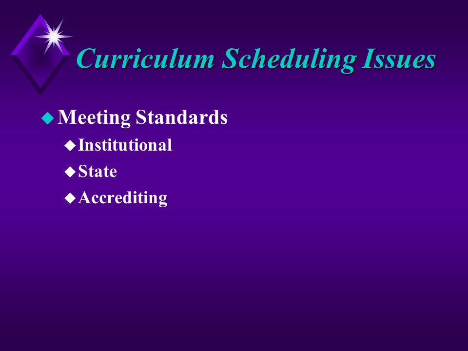 Curriculum Scheduling Issues u Meeting Standards u Institutional u State u Accrediting