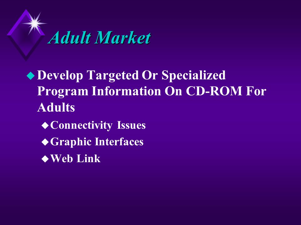 Adult Market u Develop Targeted Or Specialized Program Information On CD-ROM For Adults u Connectivity Issues u Graphic Interfaces u Web Link