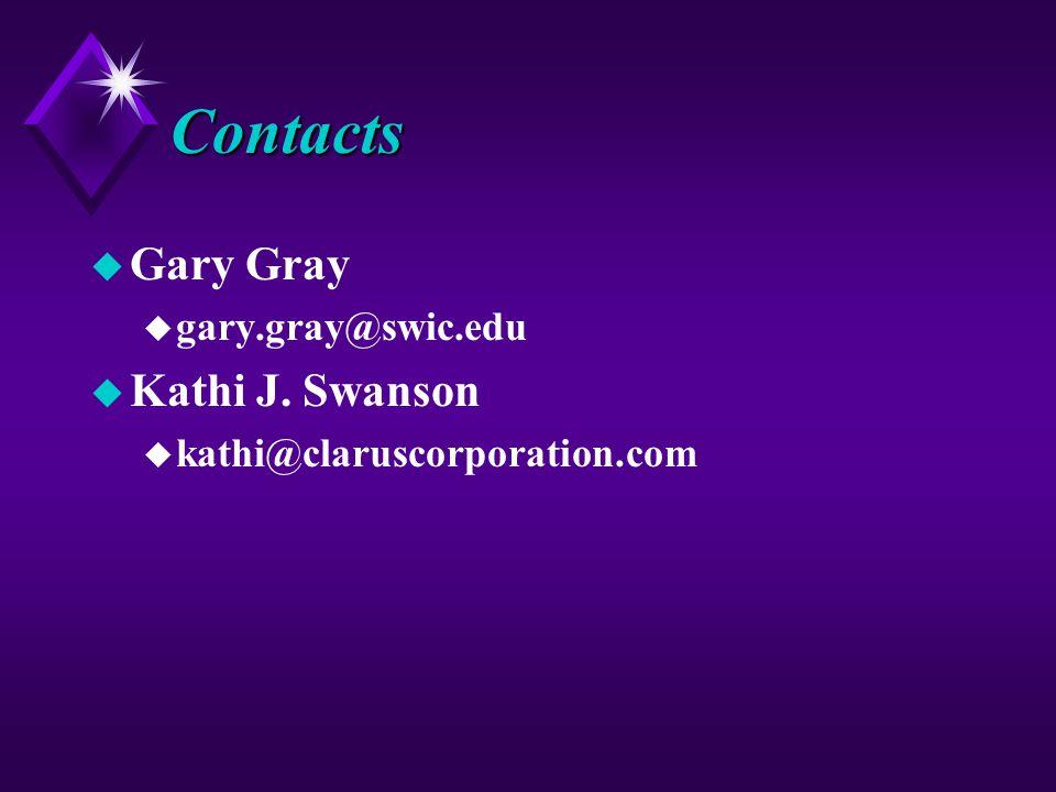 Contacts u Gary Gray u gary.gray@swic.edu u Kathi J. Swanson u kathi@claruscorporation.com