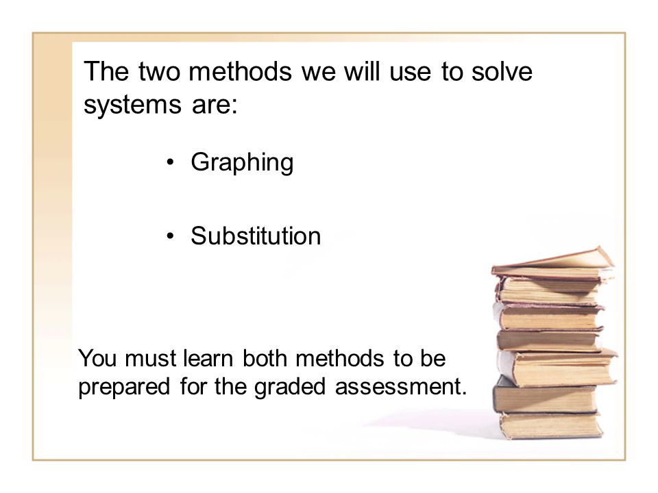 The two methods we will use to solve systems are: Graphing Substitution You must learn both methods to be prepared for the graded assessment.