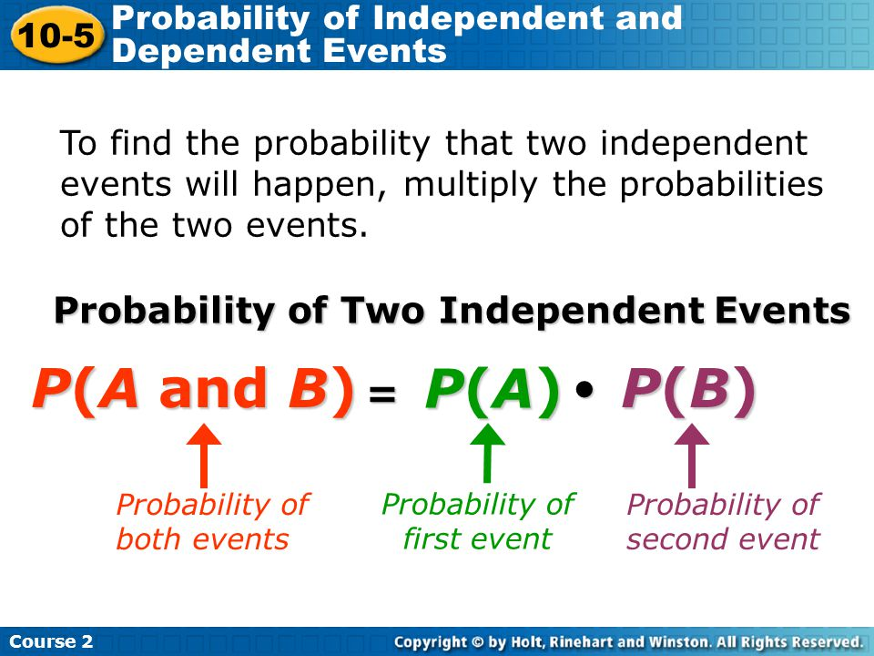 To find the probability that two independent events will happen, multiply the probabilities of the two events. Probability of Two Independent Events =
