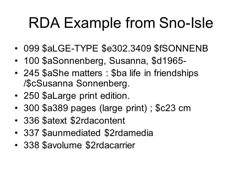 RDA Example from Sno-Isle 099 $aLGE-TYPE $e302.3409 $fSONNENB 100 $aSonnenberg, Susanna, $d1965- 245 $aShe matters : $ba life in friendships /$cSusanna Sonnenberg.