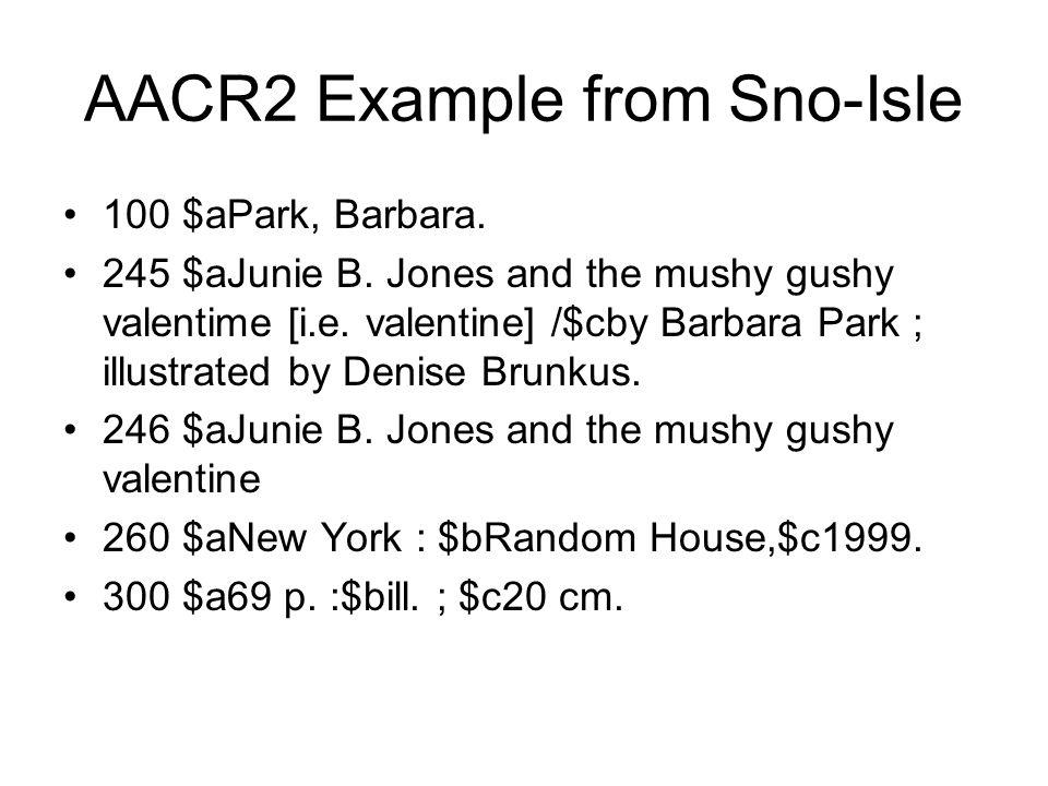 AACR2 Example from Sno-Isle 100 $aPark, Barbara. 245 $aJunie B.