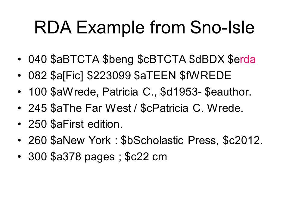 RDA Example from Sno-Isle 040 $aBTCTA $beng $cBTCTA $dBDX $erda 082 $a[Fic] $223099 $aTEEN $fWREDE 100 $aWrede, Patricia C., $d1953- $eauthor.