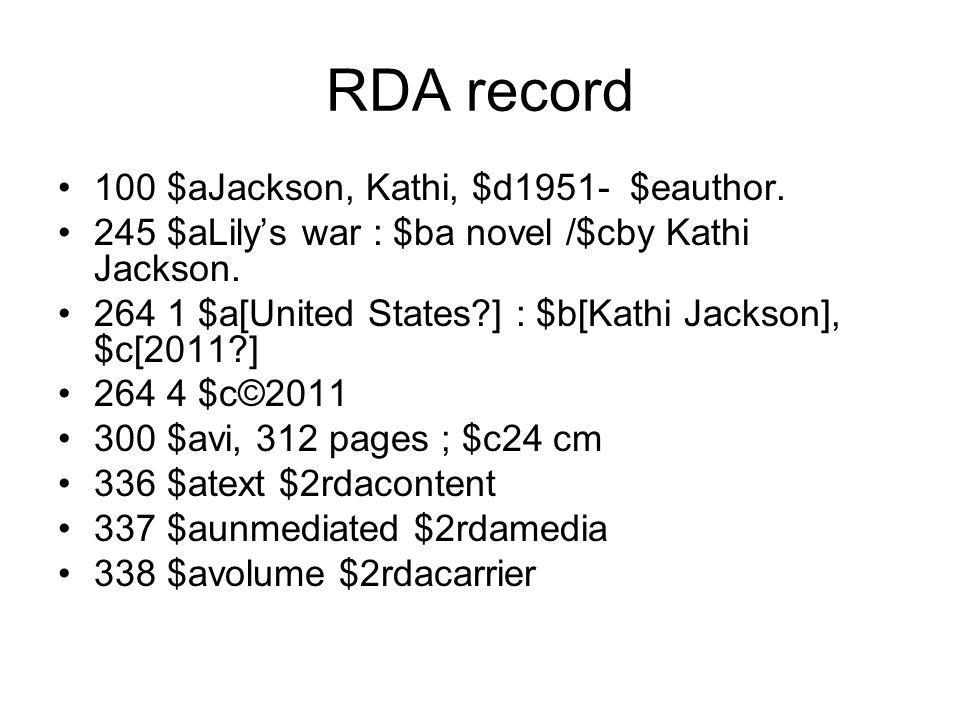 RDA record 100 $aJackson, Kathi, $d1951- $eauthor.