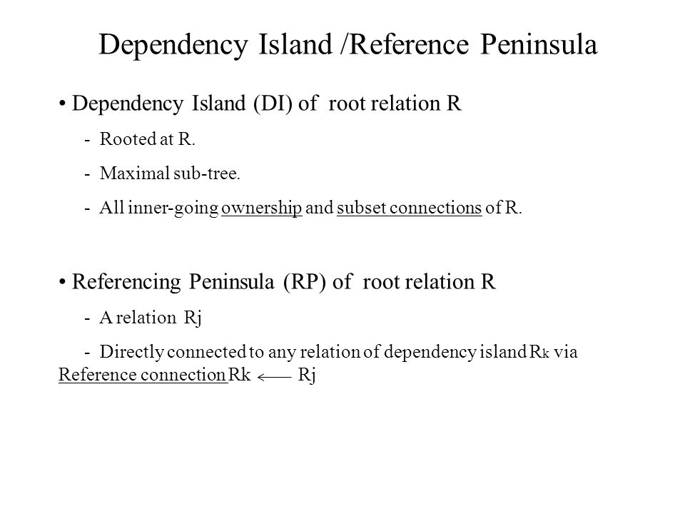 Dependency Island (DI) of root relation R - Rooted at R.
