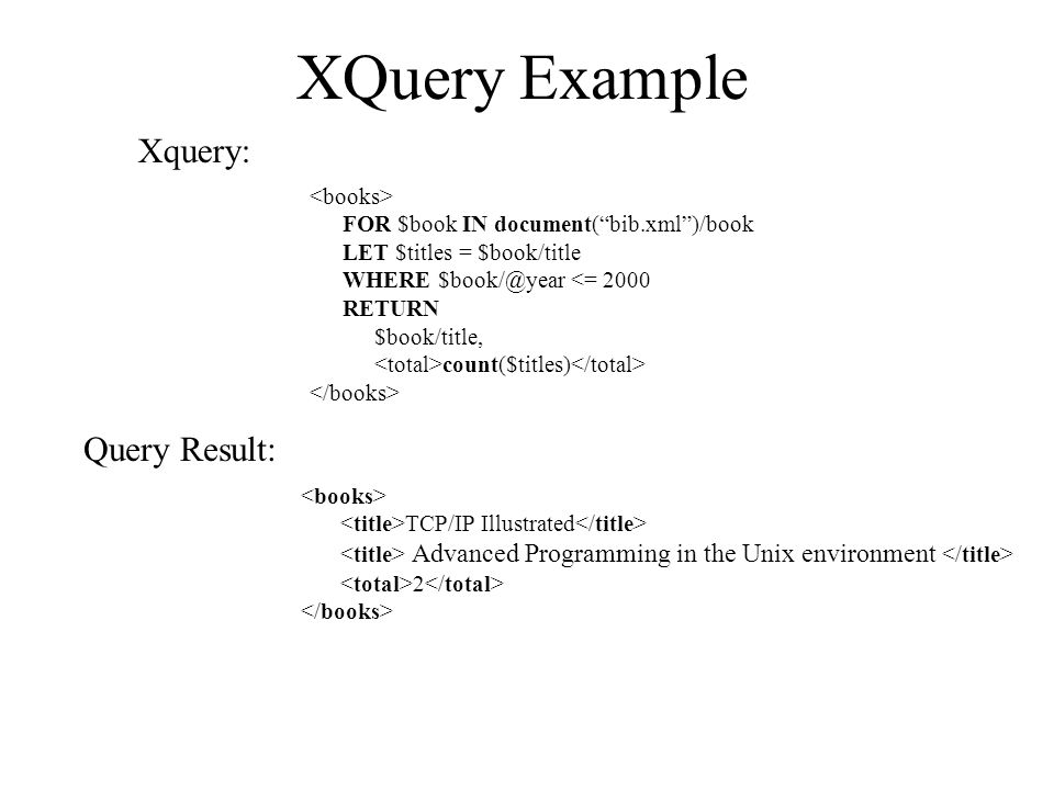 FOR $book IN document( bib.xml )/book LET $titles = $book/title WHERE $book/@year <= 2000 RETURN $book/title, count($titles) TCP/IP Illustrated Advanced Programming in the Unix environment 2 Xquery: Query Result: XQuery Example