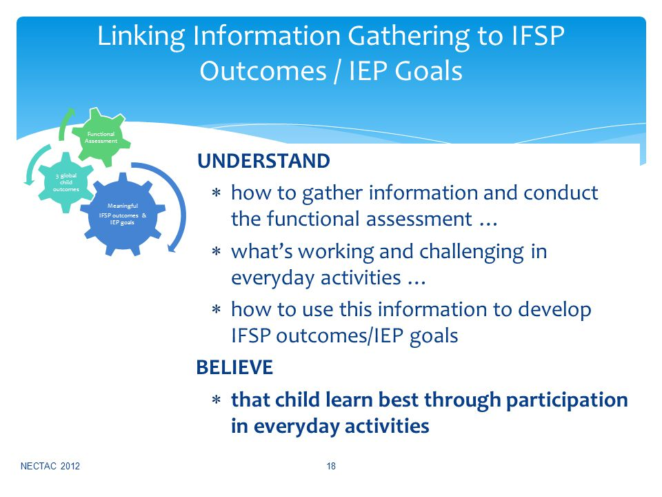 UNDERSTAND  how to gather information and conduct the functional assessment …  what's working and challenging in everyday activities …  how to use this information to develop IFSP outcomes/IEP goals BELIEVE  that child learn best through participation in everyday activities NECTAC 201218 Linking Information Gathering to IFSP Outcomes / IEP Goals Meaningful IFSP outcomes & IEP goals 3 global child outcomes Functional Assessment