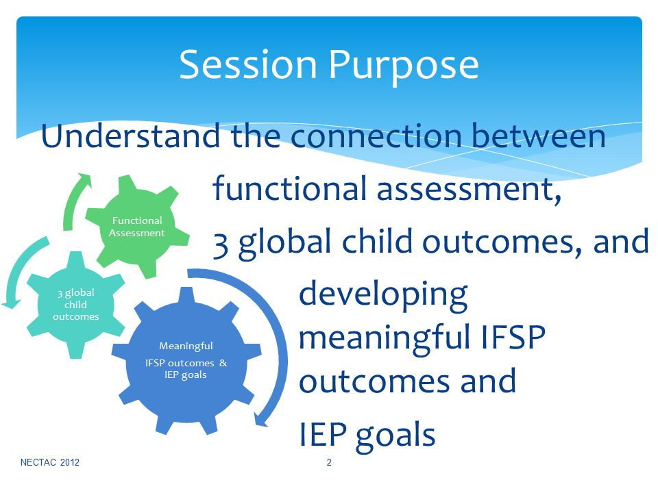 Understand the connection between functional assessment, 3 global child outcomes, and developing meaningful IFSP outcomes and IEP goals NECTAC 20122 Session Purpose Meaningful IFSP outcomes & IEP goals 3 global child outcomes Functional Assessment