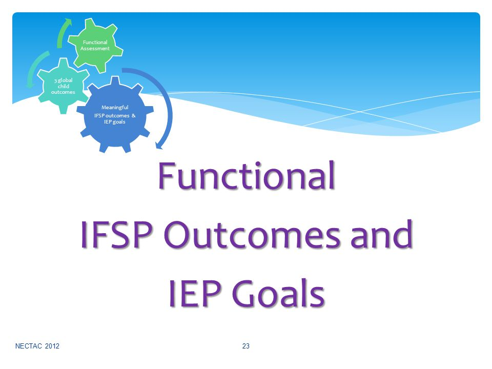 Functional IFSP Outcomes and IEP Goals NECTAC 201223 Meaningful IFSP outcomes & IEP goals 3 global child outcomes Functional Assessment
