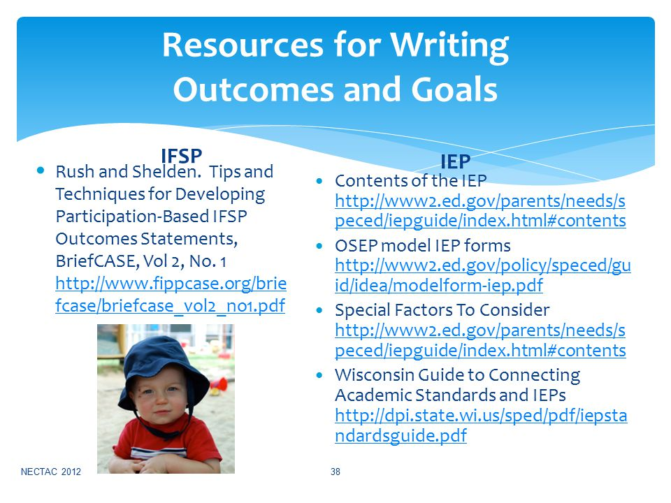 Resources for Writing Outcomes and Goals IFSP Rush and Shelden.