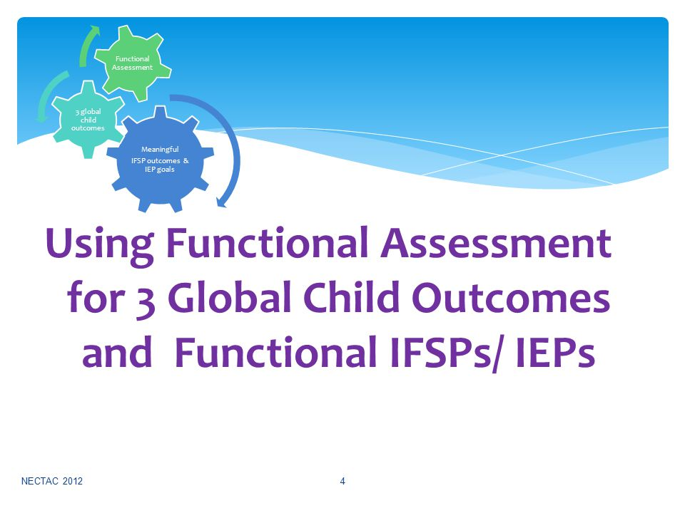 NECTAC 20124 Using Functional Assessment for 3 Global Child Outcomes and Functional IFSPs/ IEPs Meaningful IFSP outcomes & IEP goals 3 global child outcomes Functional Assessment