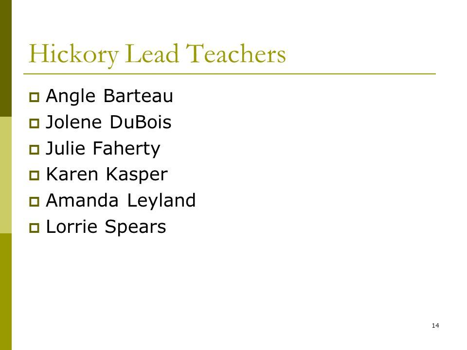14 Hickory Lead Teachers  Angle Barteau  Jolene DuBois  Julie Faherty  Karen Kasper  Amanda Leyland  Lorrie Spears