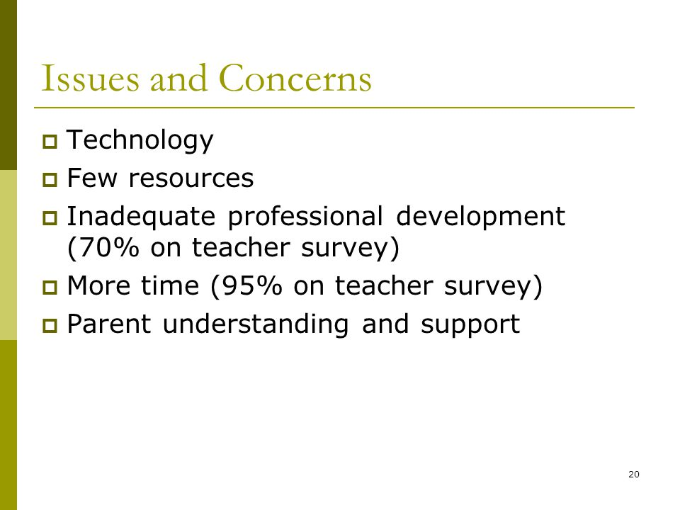 20 Issues and Concerns  Technology  Few resources  Inadequate professional development (70% on teacher survey)  More time (95% on teacher survey)  Parent understanding and support