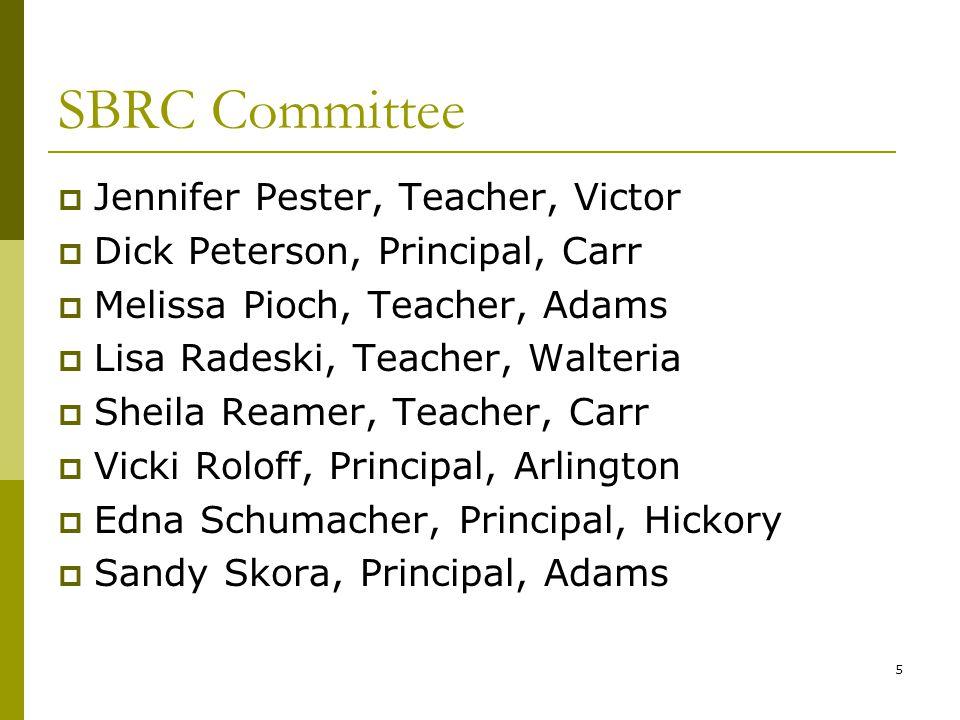 5 SBRC Committee  Jennifer Pester, Teacher, Victor  Dick Peterson, Principal, Carr  Melissa Pioch, Teacher, Adams  Lisa Radeski, Teacher, Walteria