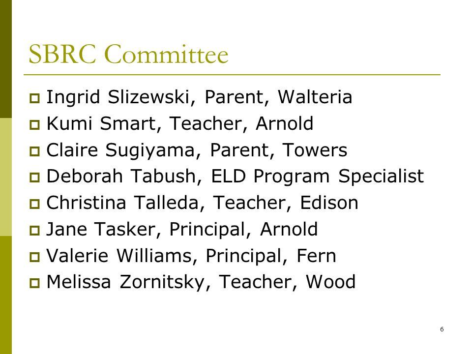 6 SBRC Committee  Ingrid Slizewski, Parent, Walteria  Kumi Smart, Teacher, Arnold  Claire Sugiyama, Parent, Towers  Deborah Tabush, ELD Program Sp