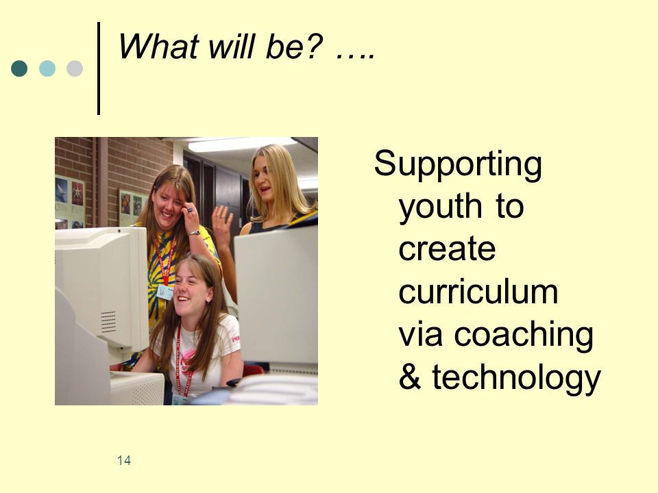 14 What will be …. Supporting youth to create curriculum via coaching & technology