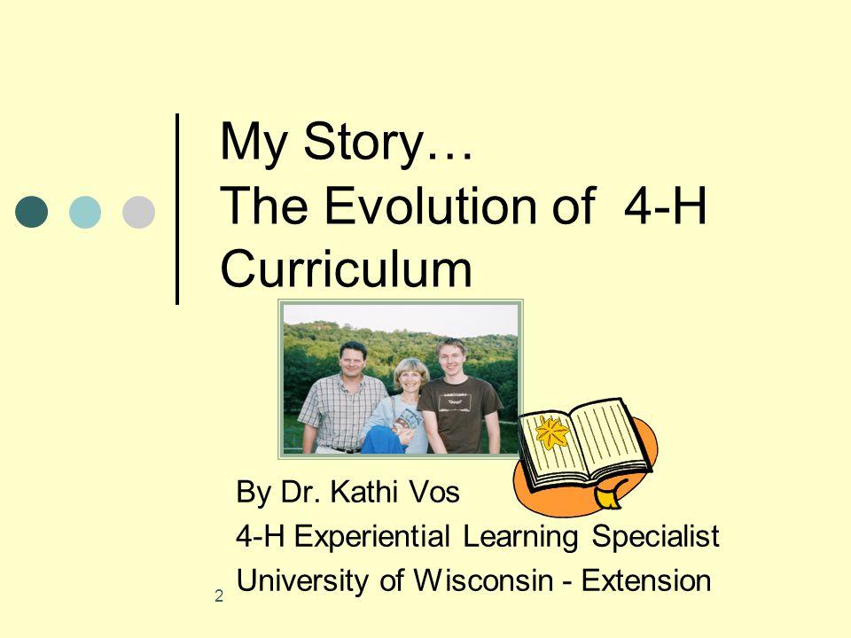 3 Evolving WI Experiences WI 4-H Curriculum Team 1996-present 4-H Tech Team 1998-2006 4-H Afterschool Team 2003-present Wisconsin Afterschool Network 2005-08