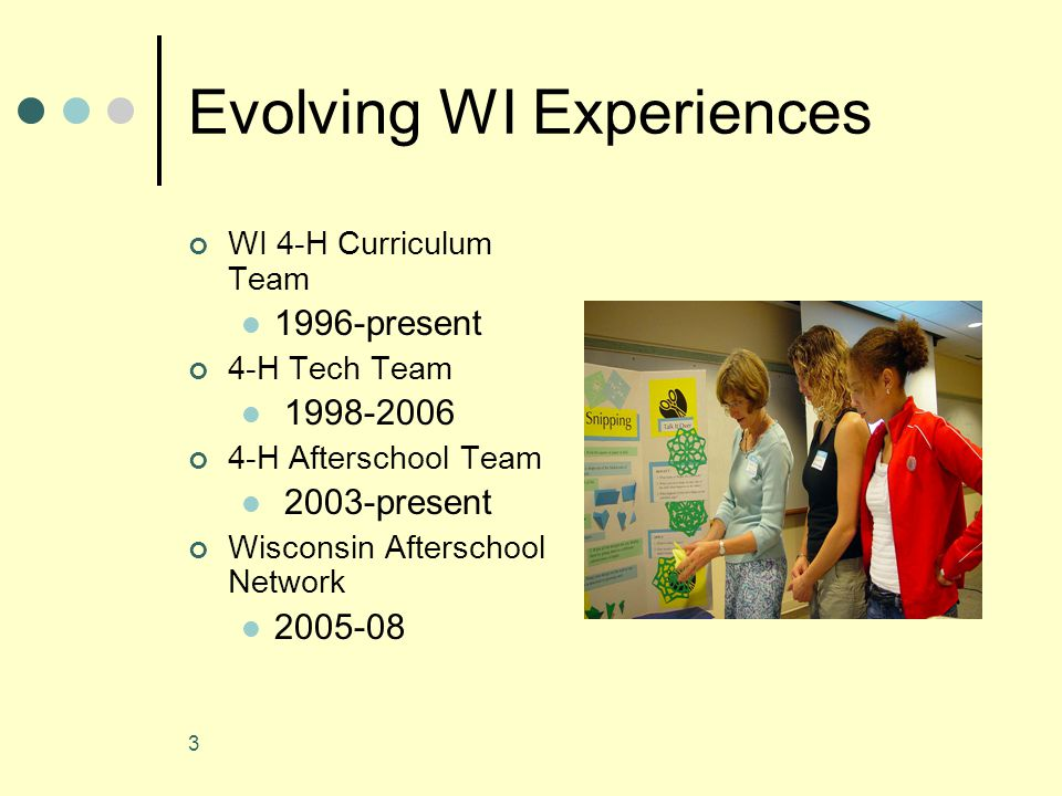 3 Evolving WI Experiences WI 4-H Curriculum Team 1996-present 4-H Tech Team 1998-2006 4-H Afterschool Team 2003-present Wisconsin Afterschool Network 2005-08