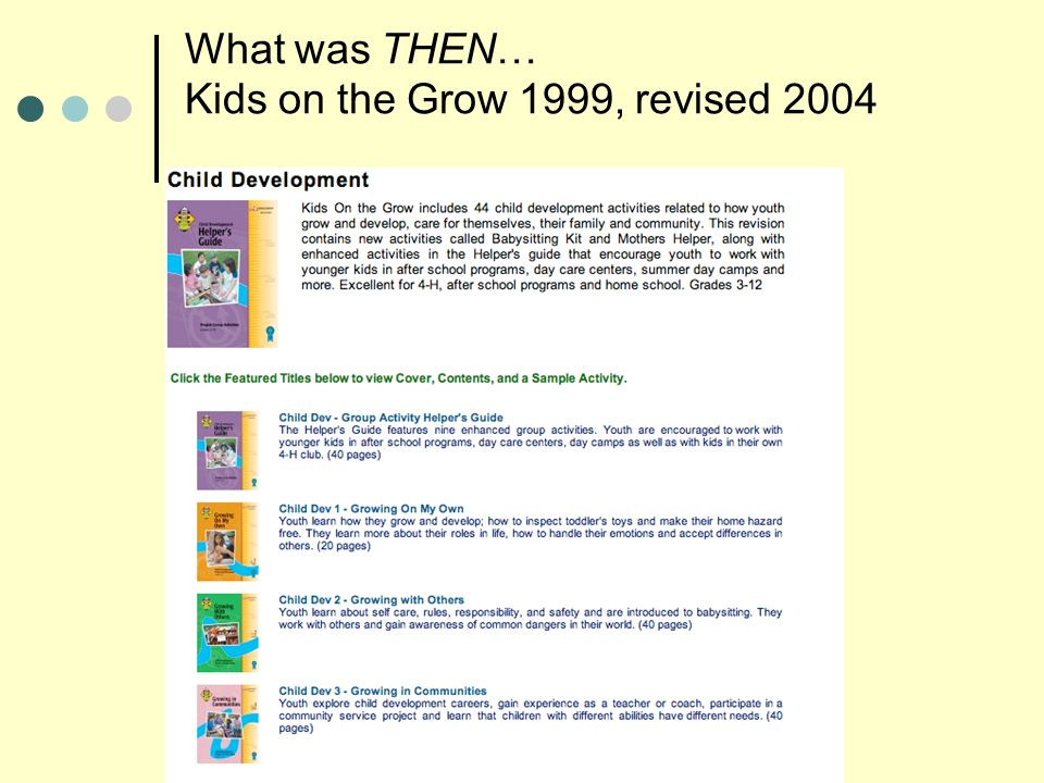 5 What was THEN… Kids on the Grow 1999, revised 2004