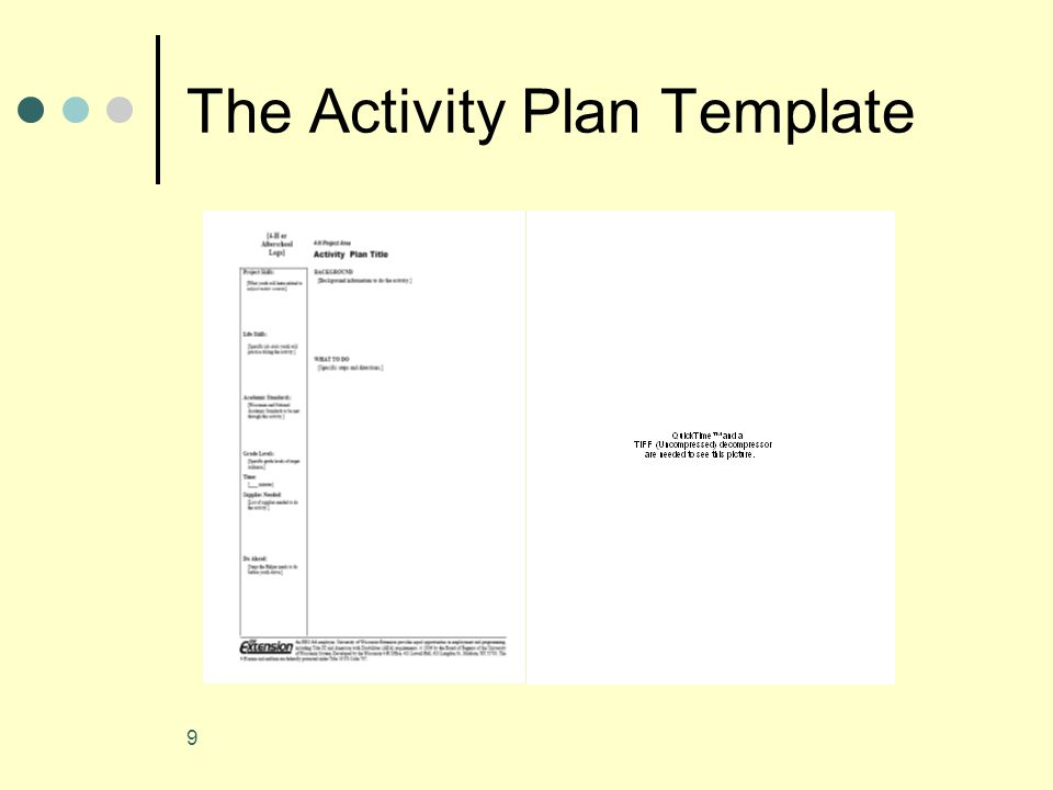9 The Activity Plan Template