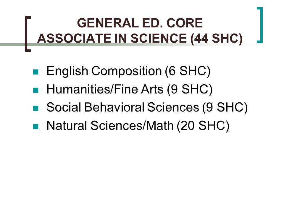 GENERAL ED. CORE ASSOCIATE IN SCIENCE (44 SHC) English Composition (6 SHC) Humanities/Fine Arts (9 SHC) Social Behavioral Sciences (9 SHC) Natural Sci