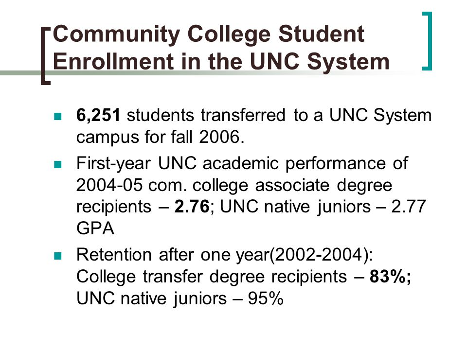 Community College Student Enrollment in the UNC System 6,251 students transferred to a UNC System campus for fall 2006.