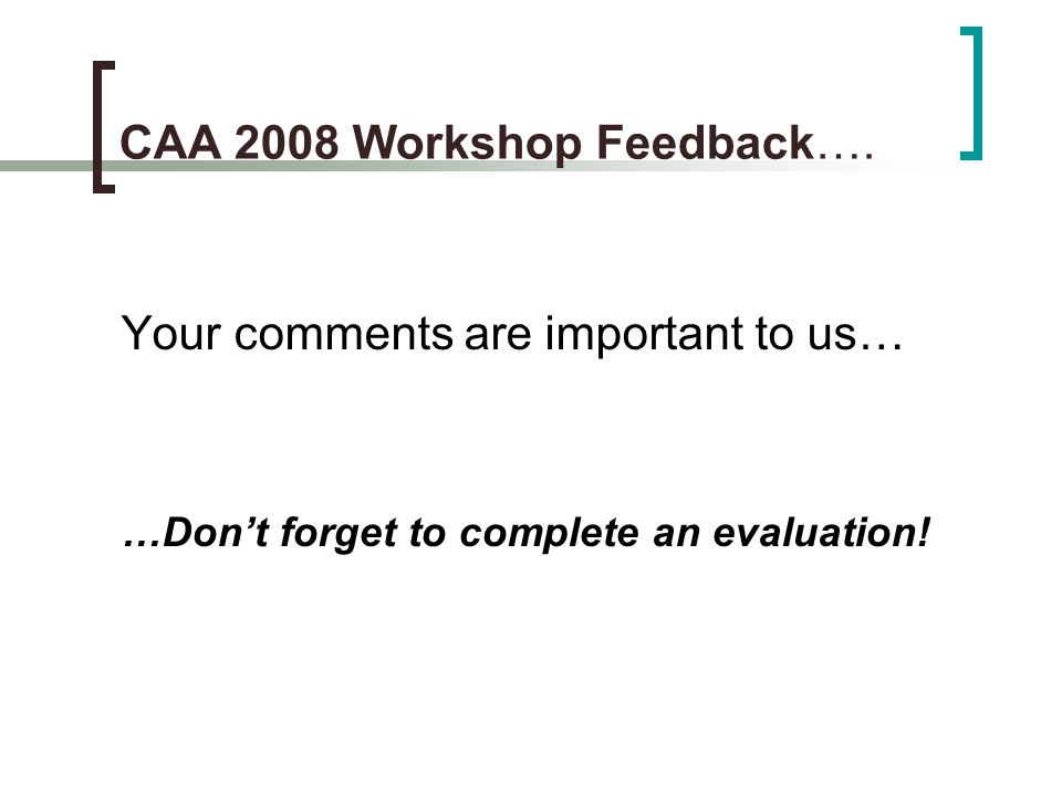 CAA 2008 Workshop Feedback….