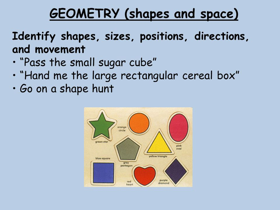 GEOMETRY (shapes and space) Identify shapes, sizes, positions, directions, and movement Pass the small sugar cube Hand me the large rectangular cereal box Go on a shape hunt