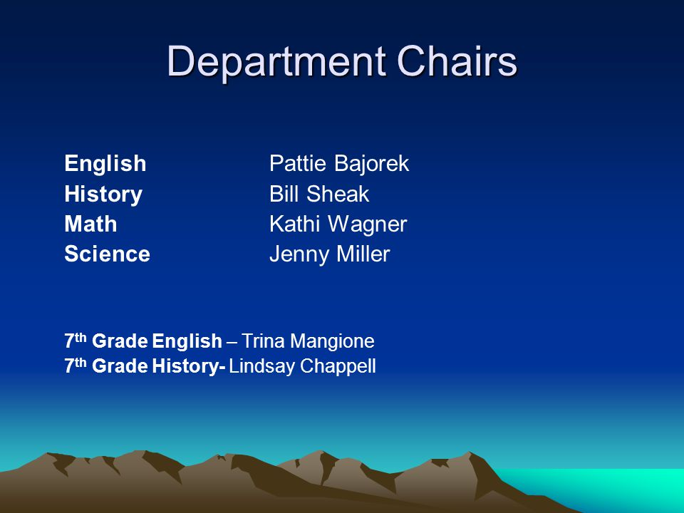 Department Chairs English Pattie Bajorek History Bill Sheak Math Kathi Wagner Science Jenny Miller 7 th Grade English – Trina Mangione 7 th Grade Hist
