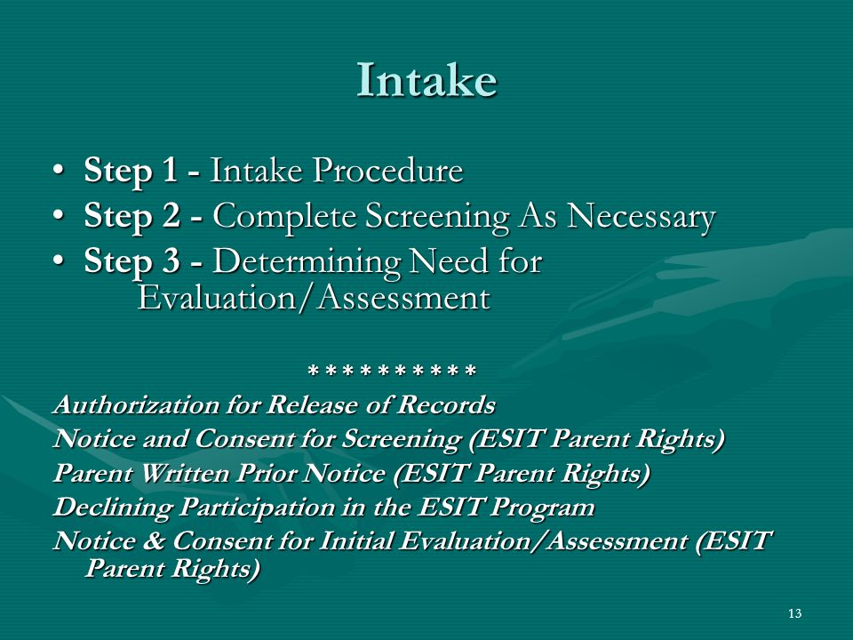 13 Intake Step 1 - Intake ProcedureStep 1 - Intake Procedure Step 2 - Complete Screening As NecessaryStep 2 - Complete Screening As Necessary Step 3 - Determining Need for Evaluation/AssessmentStep 3 - Determining Need for Evaluation/Assessment * * * * * * * * * * Authorization for Release of Records Notice and Consent for Screening (ESIT Parent Rights) Parent Written Prior Notice (ESIT Parent Rights) Declining Participation in the ESIT Program Notice & Consent for Initial Evaluation/Assessment (ESIT Parent Rights)