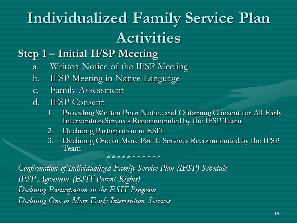 15 Individualized Family Service Plan Activities Step 1 – Initial IFSP Meeting a.Written Notice of the IFSP Meeting b.IFSP Meeting in Native Language c.Family Assessment d.IFSP Consent 1.Providing Written Prior Notice and Obtaining Consent for All Early Intervention Services Recommended by the IFSP Team 2.Declining Participation in ESIT: 3.Declining One or More Part C Services Recommended by the IFSP Team * * * * * * * * * * * Confirmation of Individualized Family Service Plan (IFSP) Schedule IFSP Agreement (ESIT Parent Rights) Declining Participation in the ESIT Program Declining One or More Early Intervention Services