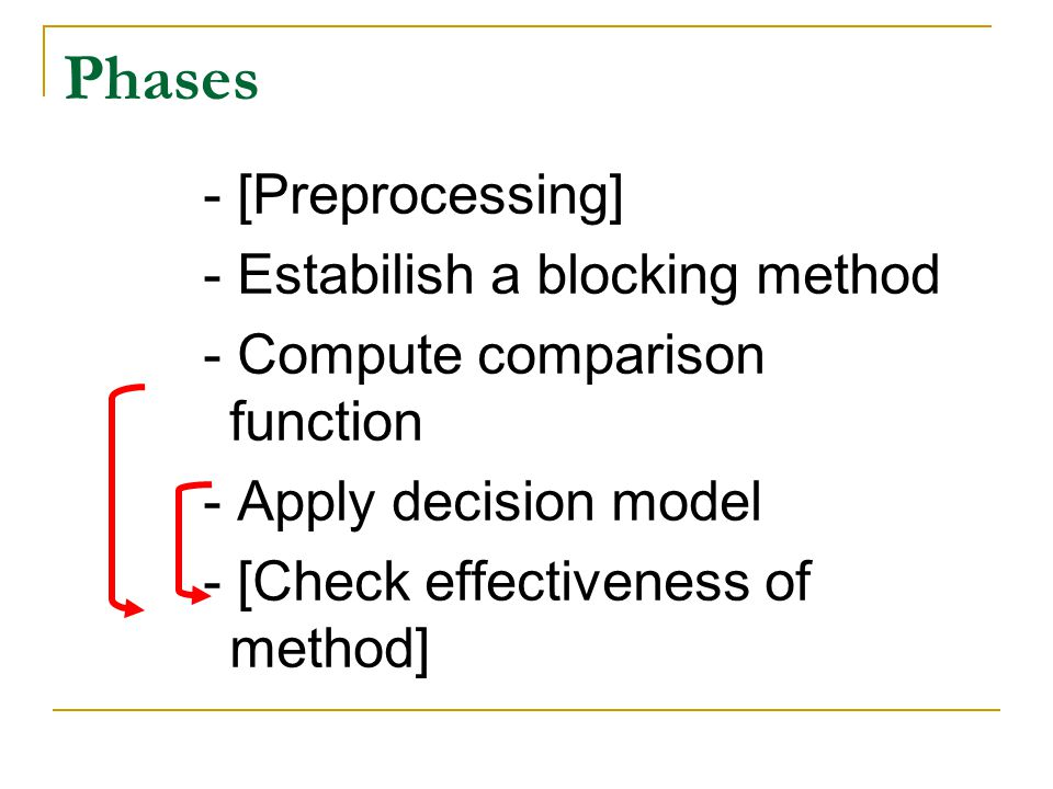 Phases - [Preprocessing] - Estabilish a blocking method - Compute comparison function - Apply decision model - [Check effectiveness of method]