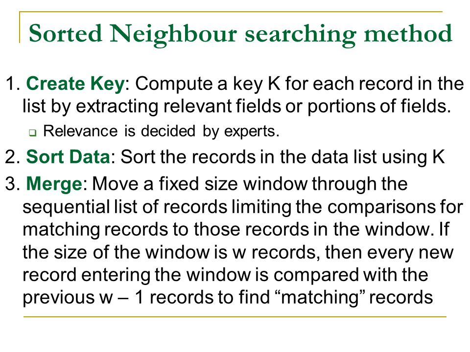 Sorted Neighbour searching method 1.