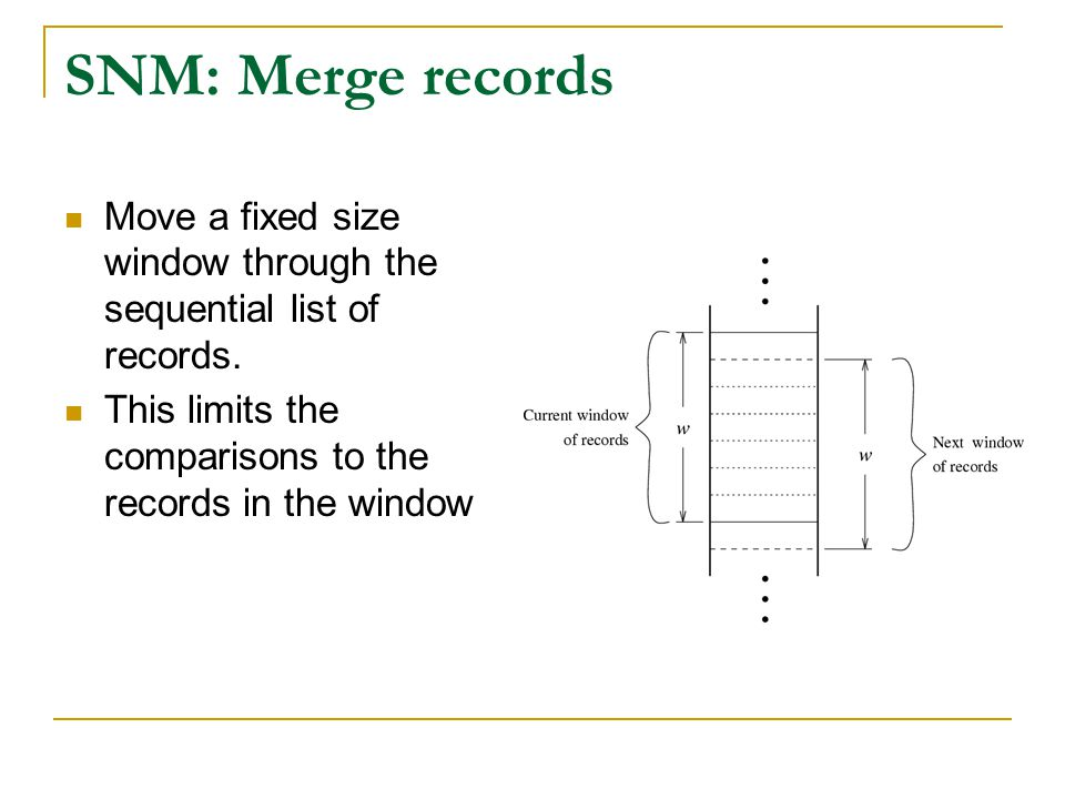 SNM: Merge records Move a fixed size window through the sequential list of records.