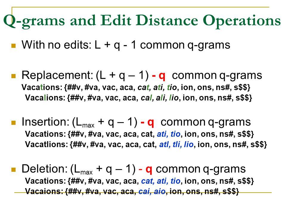 Q-grams and Edit Distance Operations With no edits: L + q - 1 common q-grams Replacement: (L + q – 1) - q common q-grams Vacations: {##v, #va, vac, aca, cat, ati, tio, ion, ons, ns#, s$$} Vacalions: {##v, #va, vac, aca, cal, ali, lio, ion, ons, ns#, s$$} Insertion: (L max + q – 1) - q common q-grams Vacations: {##v, #va, vac, aca, cat, ati, tio, ion, ons, ns#, s$$} Vacatlions: {##v, #va, vac, aca, cat, atl, tli, lio, ion, ons, ns#, s$$} Deletion: (L max + q – 1) - q common q-grams Vacations: {##v, #va, vac, aca, cat, ati, tio, ion, ons, ns#, s$$} Vacaions: {##v, #va, vac, aca, cai, aio, ion, ons, ns#, s$$}