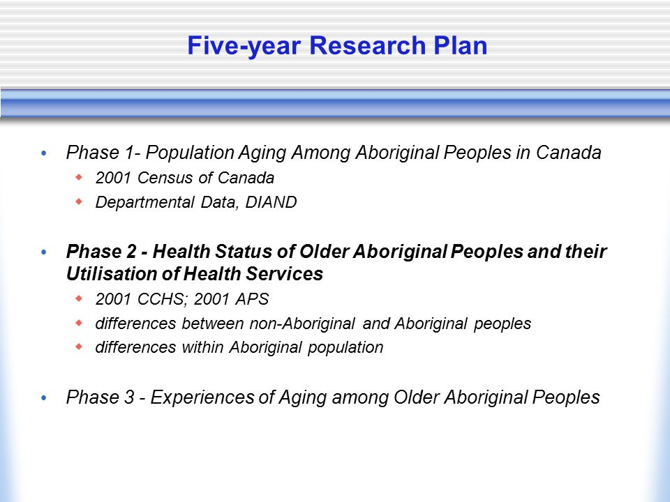 Five-year Research Plan Phase 1- Population Aging Among Aboriginal Peoples in Canada  2001 Census of Canada  Departmental Data, DIAND Phase 2 - Heal