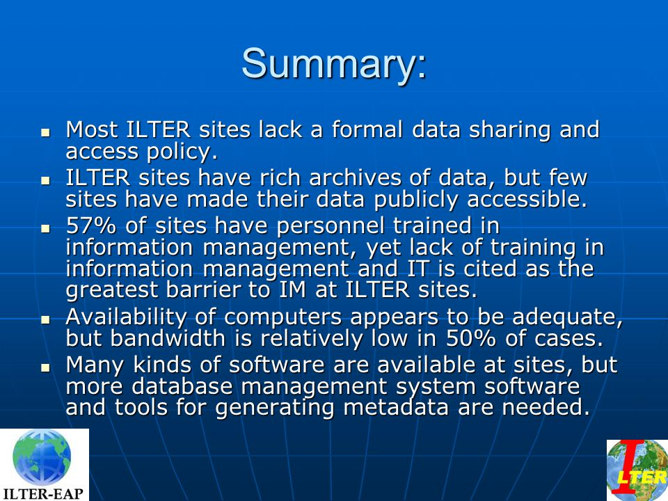 Summary: Most ILTER sites lack a formal data sharing and access policy.